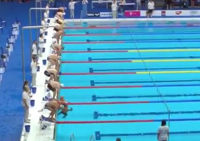Spanish swimmer Fernando Alvarez paid his own tribute to Barcelona victims