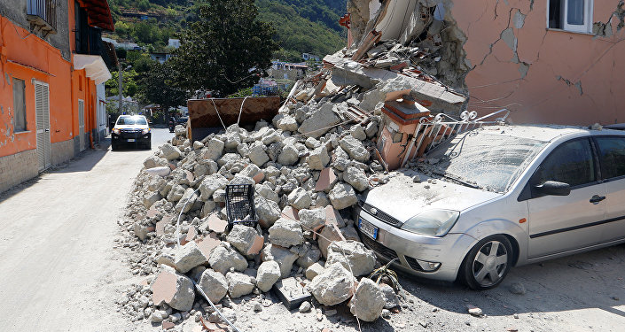 A damaged house is seen after an earthquake hits the island of Ischia, off the coast of Naples, Italy August 22, 2017.