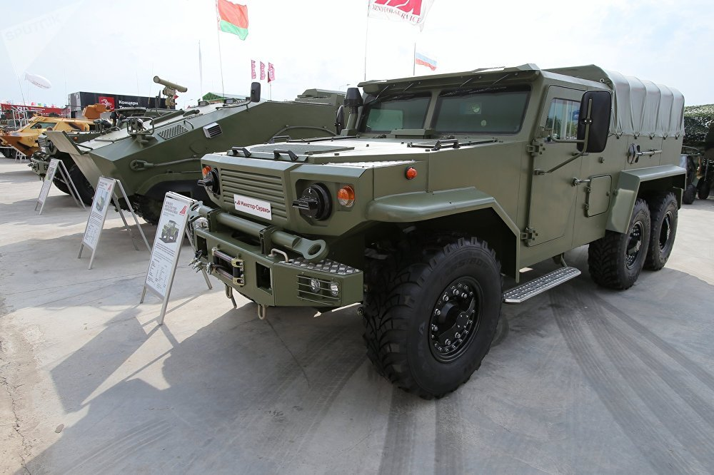The Vitim 668240 multipurpose armored cargo vehicle is presented at the Army 2017 International Military-Technical Forum, Moscow Region