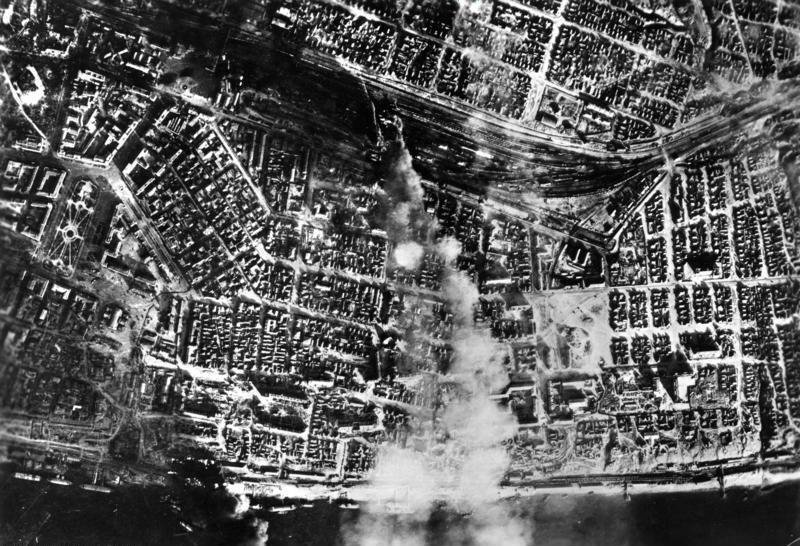Smokeover the city center after aerial bombing by the German Luftwaffe on the central station