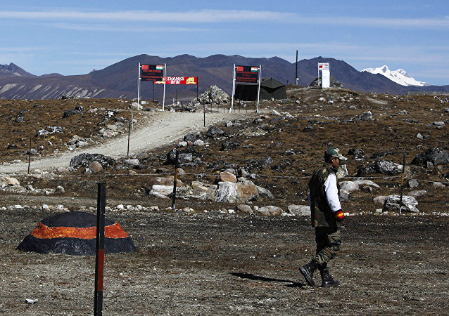 Indian army soldiers walk along the line of control at the Indo China border in Bumla at an altitude of 15,700 feet (4,700 meters) above sea level in Arunachal Pradesh, India. (File)