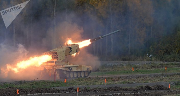 The Russian heavy flamethrower system TOS-1A Solntsepyok