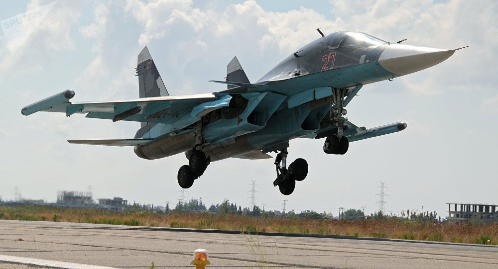 The Su-34 lands at Latakia airport, Syria. file photo
