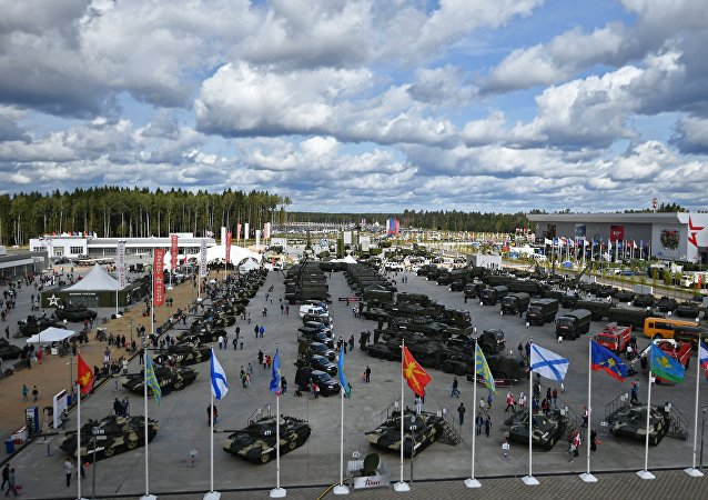 The exhibit of military equipment at the ARMY 2017 International Military-Technical Forum at the Alabino training ground