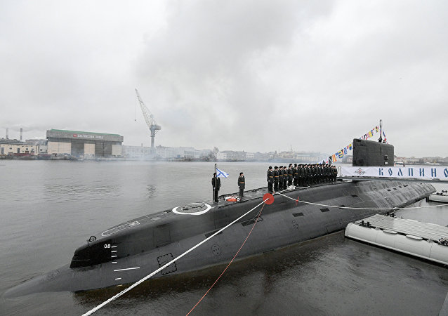 A ceremony to transfer the Kolpino submarine to the Russian Navy at the Admiralty Shipyards in St. Petersburg. (File)