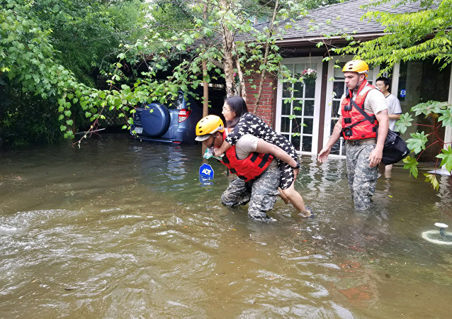 Texas National Guard soldiers aid stranded residents in heavily flooded areas from the storms of Hurricane Harvey in Houston, Texas, U.S