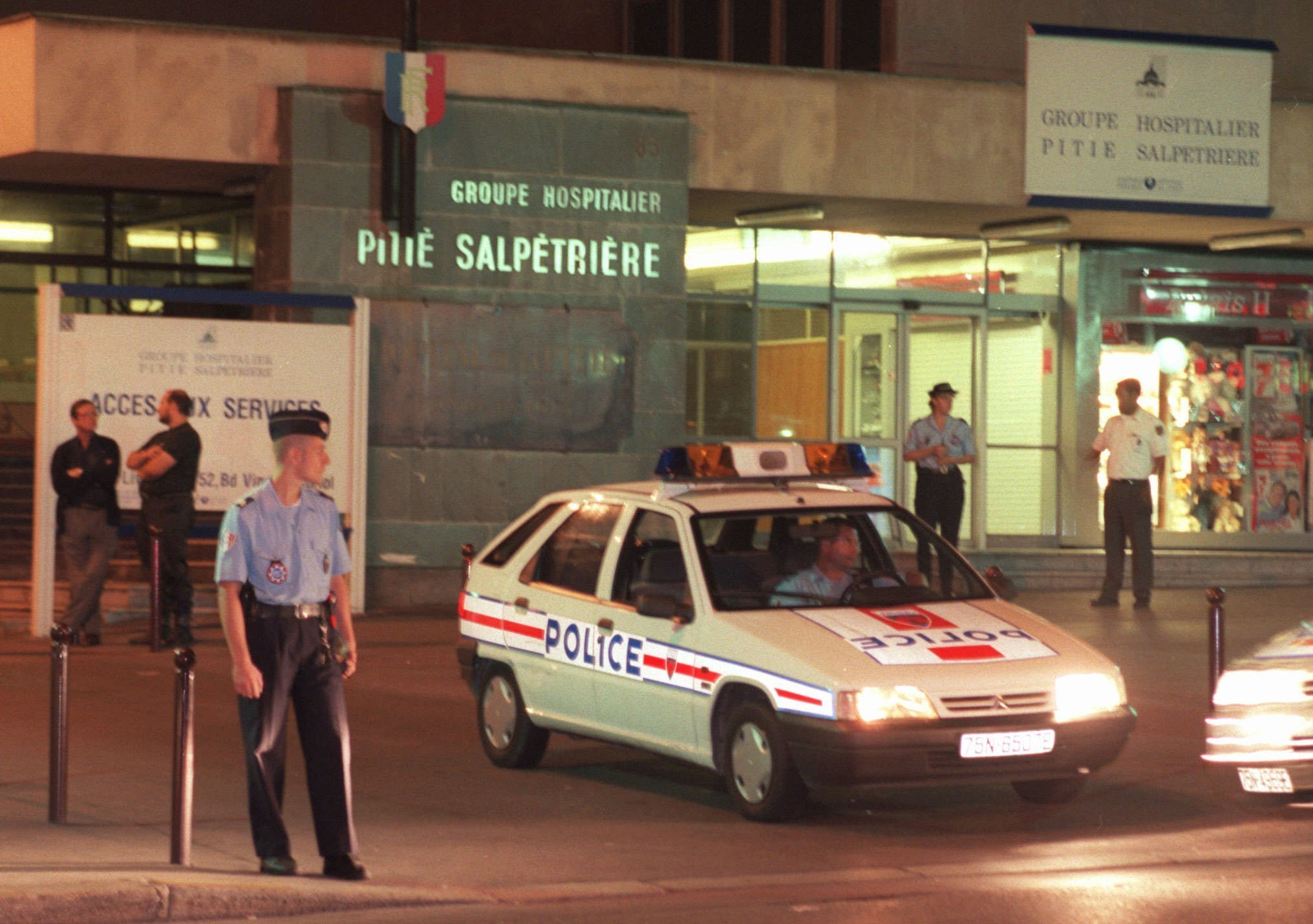 Police guard the entrance to the Pitie-Salpetriere hospital in Paris, France, where Diana, Princess of Wales, was taken following a car crash in which her companion Dodi Fayed and the chauffeur were killed early Sunday Aug.31, 1997.