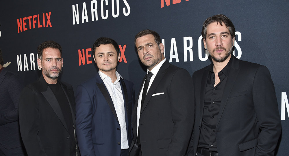 In this Aug. 21, 2017 photo, actors Francisco Denis, left, Arturo Castro, Pepe Rapazote and Alberto Ammann attend the Netflix series Narcos season three premiere at AMC Loews Lincoln Square, in New York.