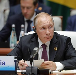 September 4, 2017. Russian President Vladimir Putin at the BRICS leaders expanded meeting with the participation of the delegations