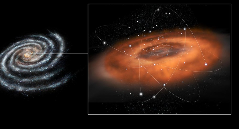 This artist concept illustrates the frenzied activity at the core of our Milky Way galaxy. The galactic center hosts a supermassive black hole in the region known as Sagittarius A*, or Sgr A*, with a mass of about four million times that of our sun.
