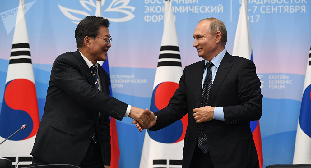 Russian President Vladimir Putin and President of South Korea Moon Jae-in, left, during a joint press statement on the results of the meeting held as part of the 3rd Eastern Economic Forum at the Far Eastern Federal University, Russky Island