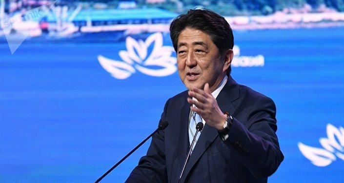 Japanese Prime Minister Shinzo Abe speaks at the plenary session of the 3rd Eastern Economic Forum in Vladivostok