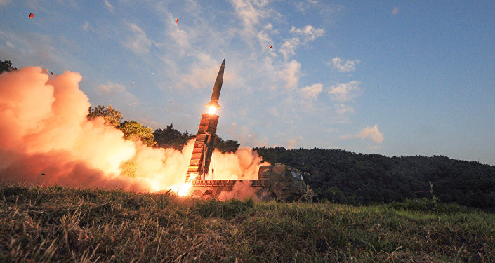 South Korean troops fire Hyunmoo Missile into the waters of the East Sea at a military exercise in South Korea September 4, 2017