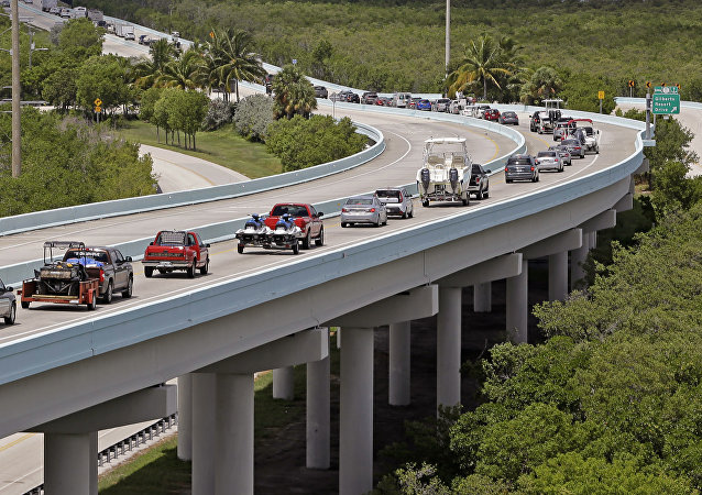 Motorists head north of Key Largo, Fla., on US 1, in anticipation of Hurricane Irma, Wednesday, Sept. 6, 2017