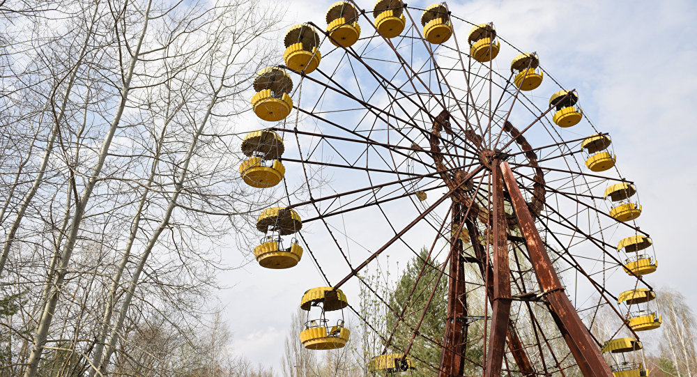 A ferris wheel at an abandoned park in the Chernobyl nuclear power plant's exclusion area