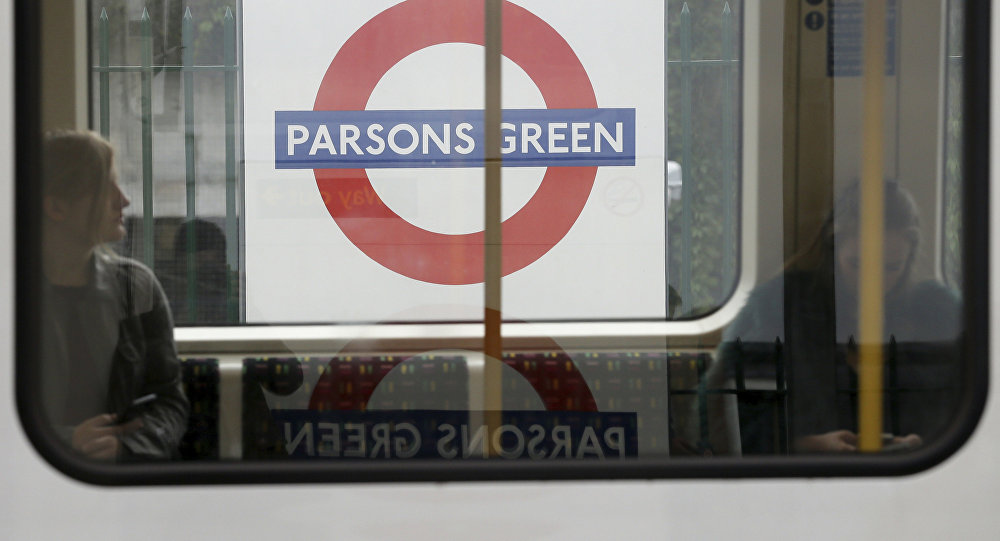 Passengers on a train at Parsons Green subway station after it was reopened following a terrorist attack on a train at the station yesterday in London, Saturday Sept. 16, 2017.