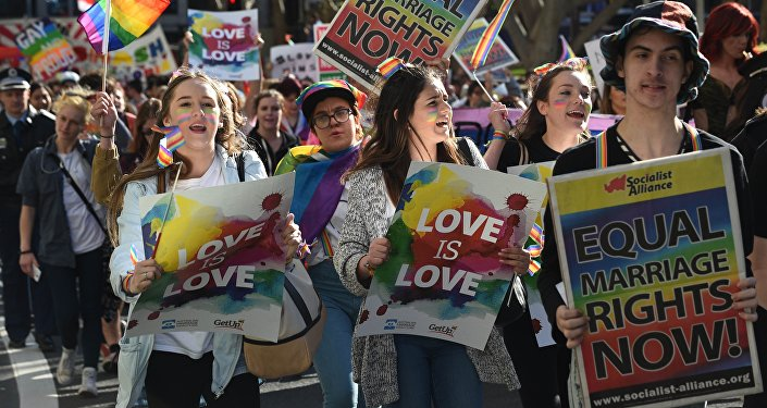 Supporters of same-sex marriage shouting slogans as they take part a rally and march in Sydney. (File)