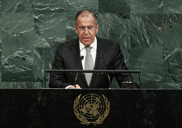 Russian Foreign Minister Sergey Lavrov addresses the United Nations General Assembly on Thursday, Sept. 21, 2017, at U.N. headquarters.