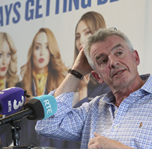 Ryanair boss Michael O'Leary reacts during a media conference in Dublin, Ireland, to give explain reasons for disruption to their flight schedules, Monday Sept. 18, 2017.