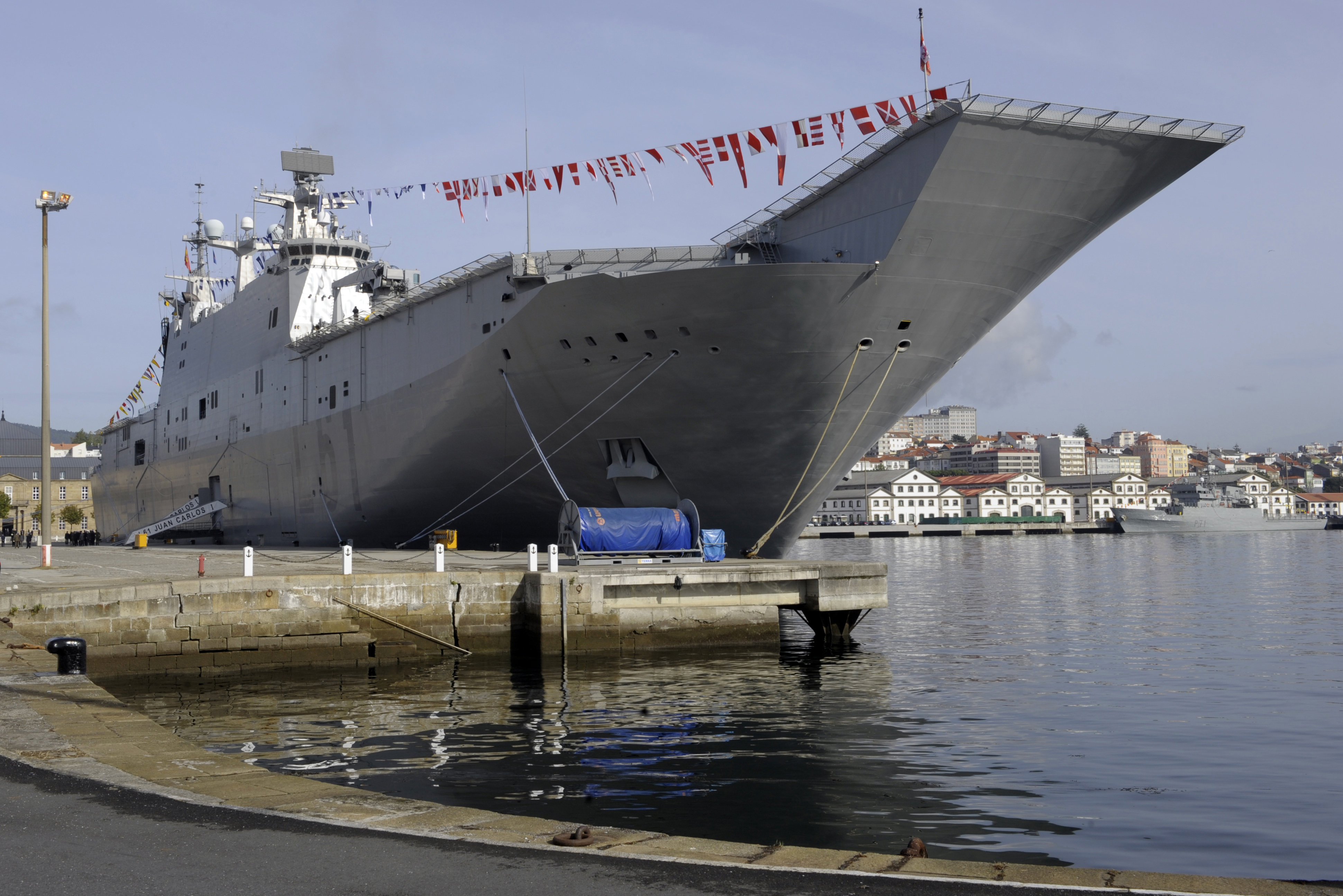 The Spanish Navy's strategic projection vessel Juan Carlos I is pictured during its giving ceremony at the Ferrol Naval Base, on September 30, 2010