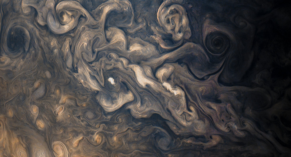 Jupiter's stormy atmosphere, photographed by Juno's JunoCam during the probe's eighth flyby.