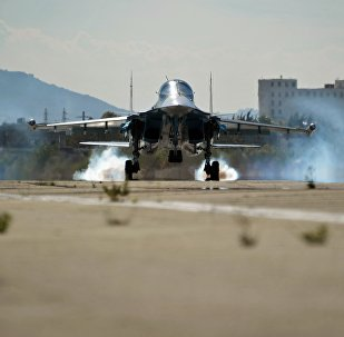 A multifunctional fighter-bomber Su-34 of the Russian Aerospace Forces lands at Hmeymim air base in Syria. file photo