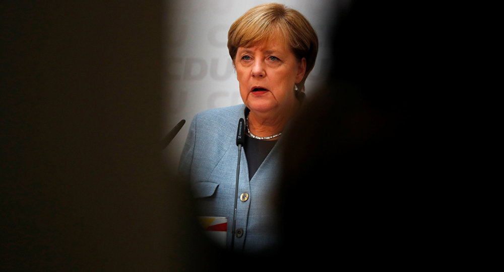 Christian Democratic Union CDU party leader and German Chancellor Angela Merkel reacts during a news conference at the CDU party headquarters, a day after the general election (Bundestagswahl) in Berlin, Germany September 25, 2017.