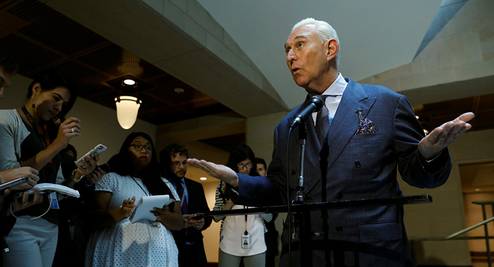 U.S. political consultant Roger Stone, a longtime ally of President Donald Trump, speaks to reporters after appearing before a closed House Intelligence Committee investigating Russian interference in the 2016 U.S. presidential election at the U.S. Capitol in Washington, U.S., September 26, 2017.