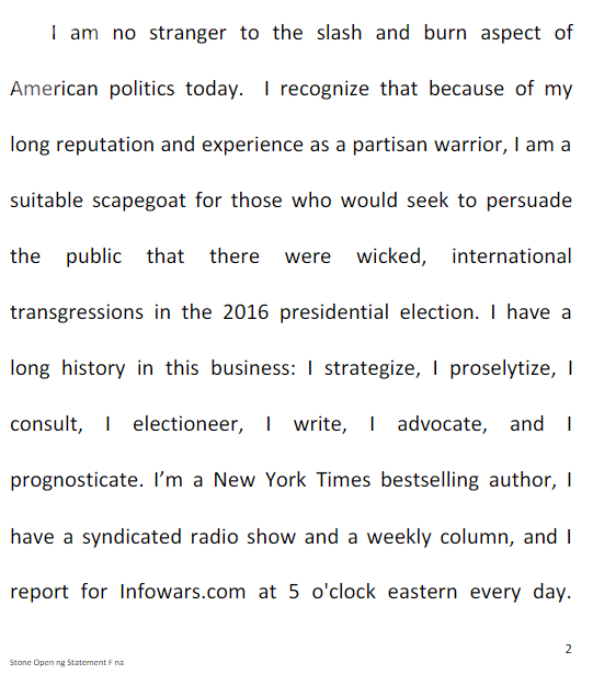 Page 2 of Roger Stone's opening statement to the House Intelligence Committee, leaked by Wikileaks beforehand