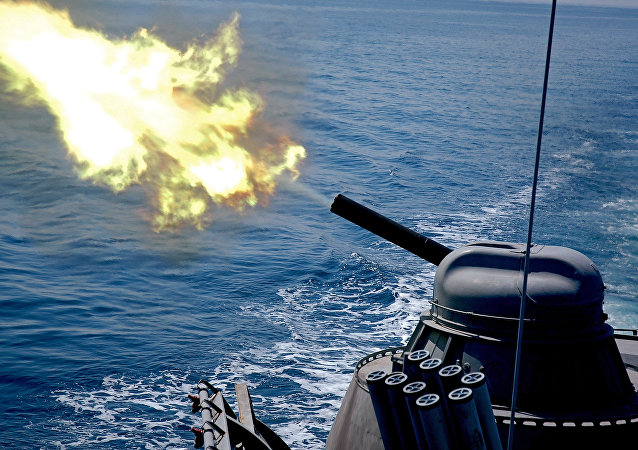 The AK-630 naval close-in weapon system firing during a training exercise