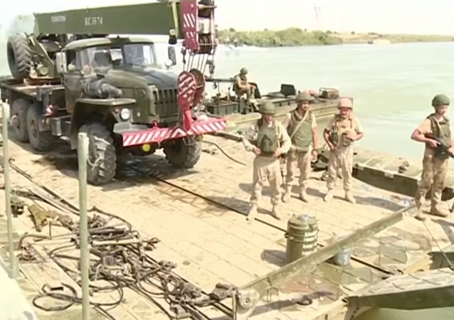 Russia Builds A Bridge Across The Euphrates River