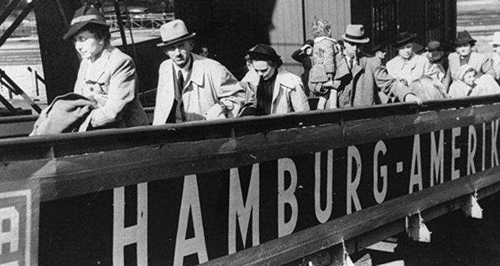 Boarding the SS St. Louis in Hamburg harbor.1939