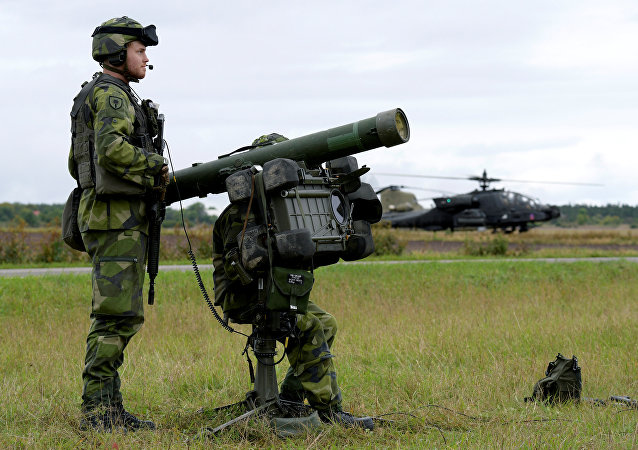 Swedish air defence practice for the first time against attack helicopters as part of the military exercise (File)