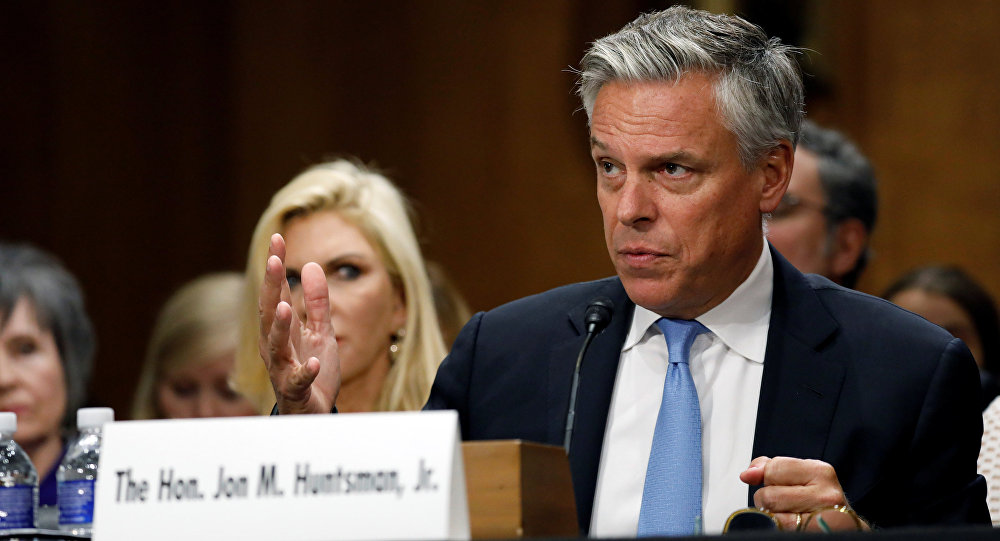 Former Gov. Jon Huntsman (R-UT) testifies before a Senate Foreign Relations Committee hearing on his nomination to be ambassador to Russia on Capitol Hill in Washington, U.S
