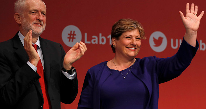 Britain's opposition Labour Party shadow foreign secretary, Emily Thornberry with party leader Jeremy Corbyn after her speech at the Labour Party Conference in Brighton, Britain, September 25, 2017.