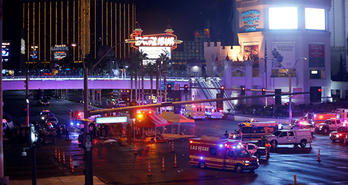 Las Vegas Metro Police and medical workers stage in the intersection of Tropicana Avenue and Las Vegas Boulevard South after a mass shooting at a music festival on the Las Vegas Strip in Las Vegas, Nevada, U.S. October 1, 2017