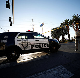 A police vehicle enters the site of the mass shooing at the Route 91 Harvest Country Music Festival on the Las Vegas Strip in Las Vegas, Nevada, U.S