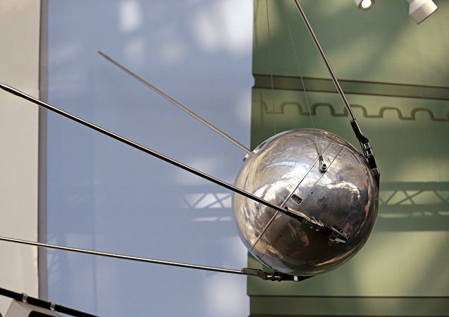 A Sputnik 1 test satellite, most likely manufactured by the Academy of Sciences of the USSR and one of only two known to exist, is displayed at the Museum of Flight, Monday, Oct. 2, 2017, in Seattle. Sixty years earlier, the Soviet Union launched Sputnik 1, the world's first artificial satellite, aboard an R-7 intercontinental ballistic missile on October 4, 1957.
