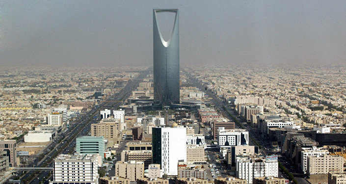 Saudi Arabian capital Riyadh with the 'Kingdom Tower'