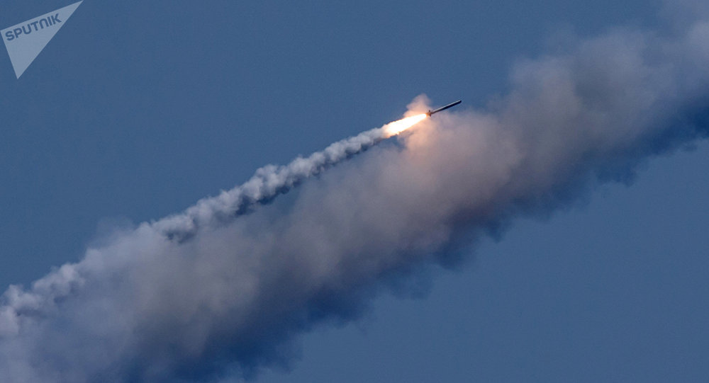 Launching Kalibr cruise missiles at terrorist targets in Syria