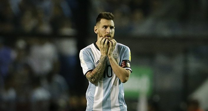 Argentina's Lionel Messi reacts during a World Cup qualifying soccer match against Peru at La Bombonera stadium in Buenos Aires, Argentina, Thursday, Oct. 5, 2017.