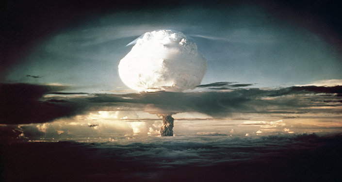 The mushroom cloud from Ivy Mike (codename given to the test) rises above the Pacific Ocean over the Enewetak Atoll in the Marshall Islands on November 1, 1952 at 7:15 am (local time) - the photograh is used for illustration purpose