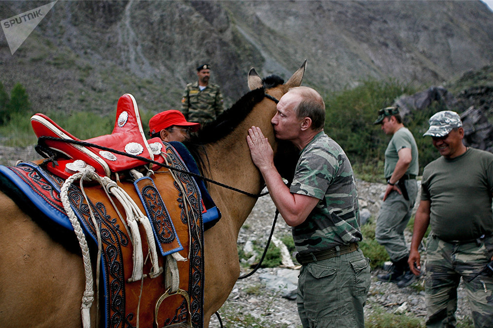 Prime Minister Vladimir Putin on vacation in the Republic of Tyva