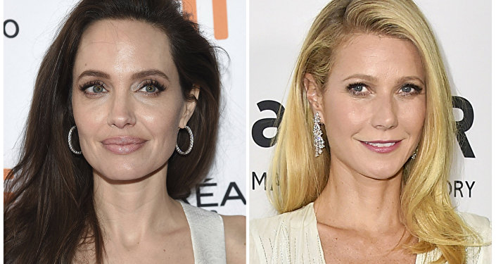 This combination photo shows actresses Angelina Jolie at a premiere for The Breadwinner at the Toronto International Film Festival on Sept. 10, 2017, left, and Gwyneth Paltrow arrives at the amfAR Inspiration Gala in Los Angeles on Oct. 29, 2015