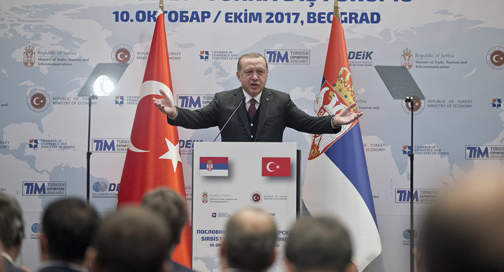 Turkish president, Recep Tayyip Erdogan, center, speaks at a Serbian-Turkish business forum in Belgrade, Serbia, Tuesday, Oct. 10, 2017. Erdogan is on a two day official visit to Serbia