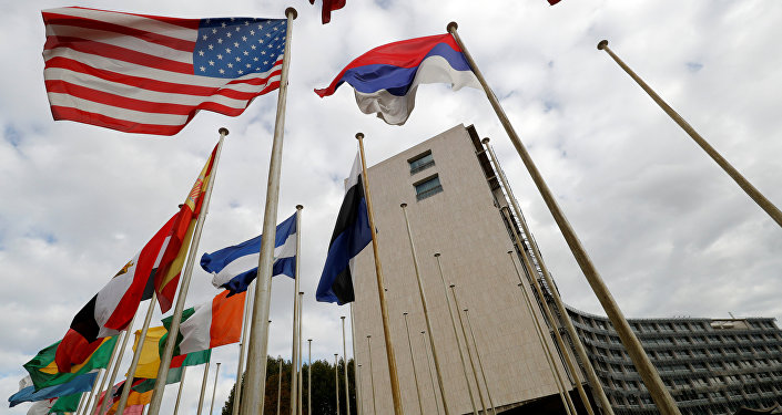An American flag flies outside the headquarters of the United Nations Educational, Scientific and Cultural Organization (UNESCO) in Paris, France, October 12, 2017