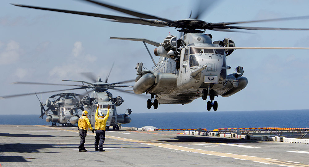 A Marine Corps CH-53 Super Stallion lifts off from the USS Kearsarge as U.S. military personnel continue to evacuate the U.S. Virgin Islands in advance of Hurricane Maria, in the Caribbean Sea near the islands September 18, 2017