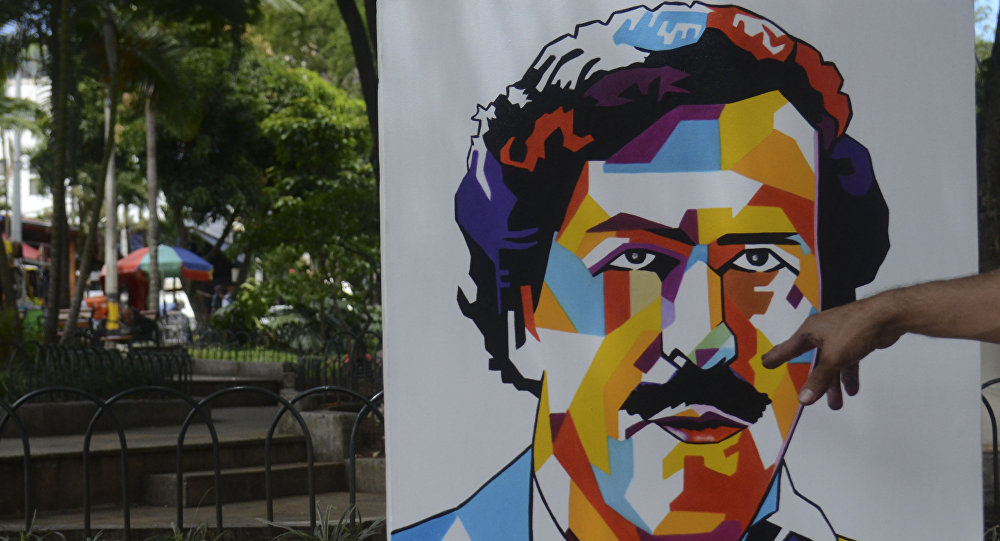 Painting depicting late Colombian drug lord Pablo Escobar are on display at Lleras Park in Medellin, Colombia