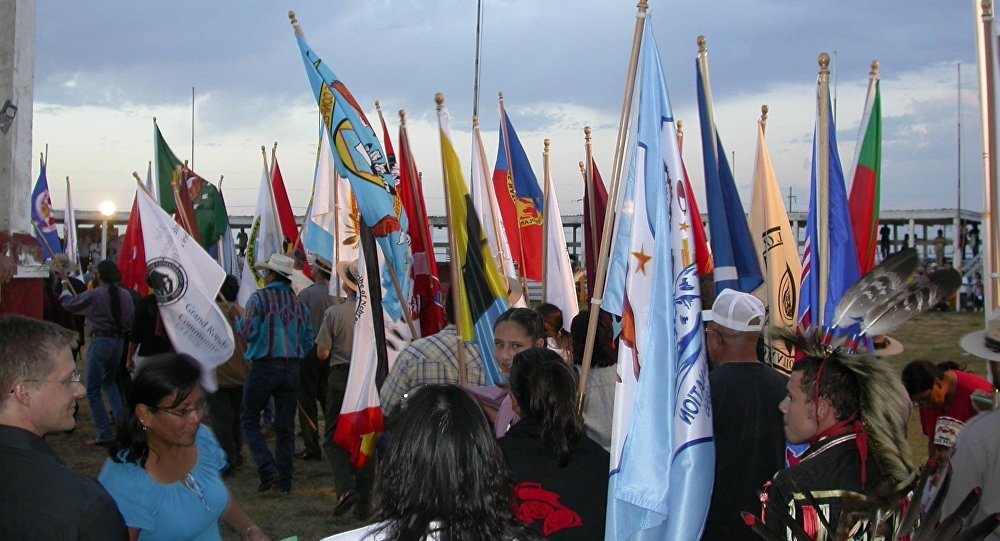 Tribal Flags at the Cheyenne River Indian Reservation. (File)
