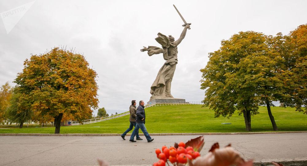 The Motherland Calls statue in Mamayev Kurgan in Volgograd
